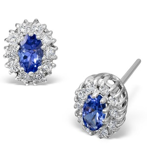 Tanzanite 5 x 3mm And Diamond 18K White Gold Earrings  FEG26-VY