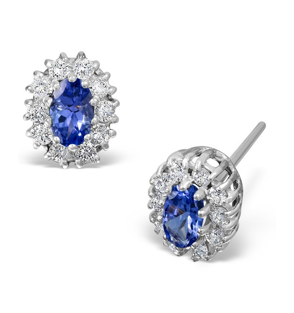 Tanzanite 5 x 3mm And Diamond 18K White Gold Earrings  FEG26-VY - image 1
