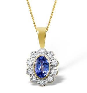 Tanzanite 6 x 4mm And Diamond 9K Yellow Gold Pendant