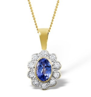 Tanzanite 6 x 4mm And Diamond 9K Yellow Gold Pendant Necklace