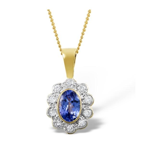 Tanzanite 6 x 4mm And Diamond 18K Yellow Gold Pendant Necklace - image 1