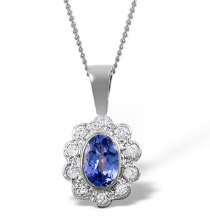 Tanzanite 6 x 4mm And Diamond 18K White Gold Pendant Necklace