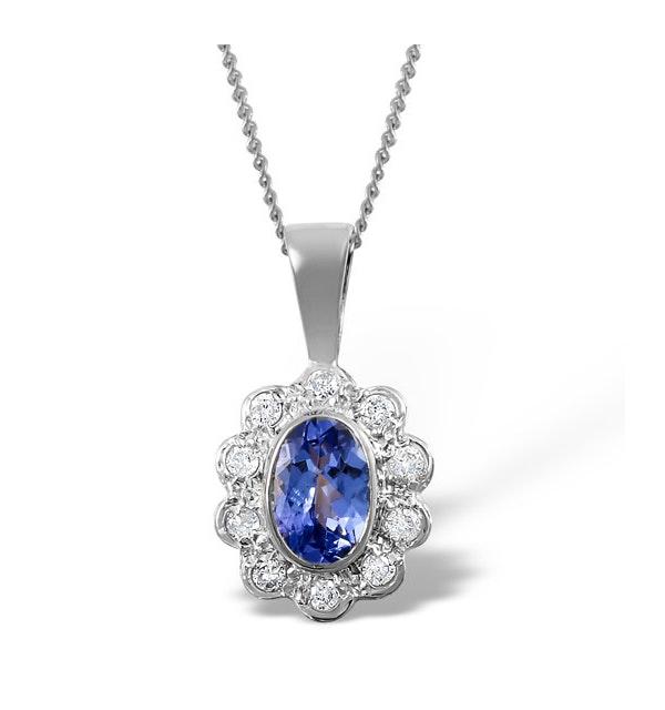 Tanzanite 6 x 4mm And Diamond 18K White Gold Pendant Necklace - image 1
