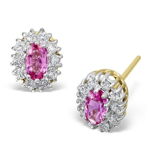 Pink Sapphire 5 X 3mm and Diamond 18K Yellow Gold Earrings