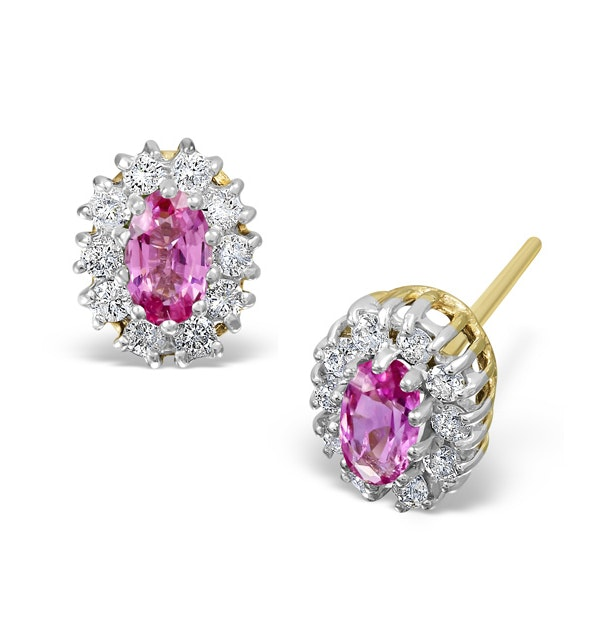 Pink Sapphire 5 X 3mm and Diamond 18K Yellow Gold Earrings - image 1