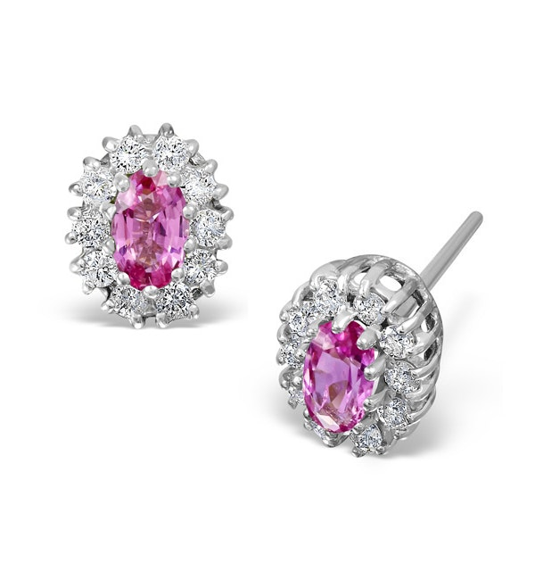 Pink Sapphire 5 X 3mm and Diamond 18K White Gold Earrings - image 1