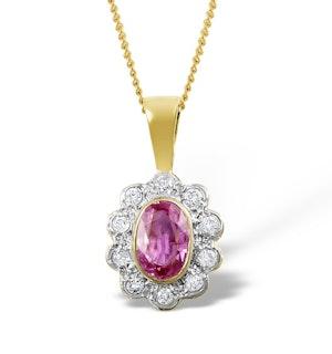 Pink Sapphire 6 X 4mm and Diamond 18K Yellow Gold Pendant