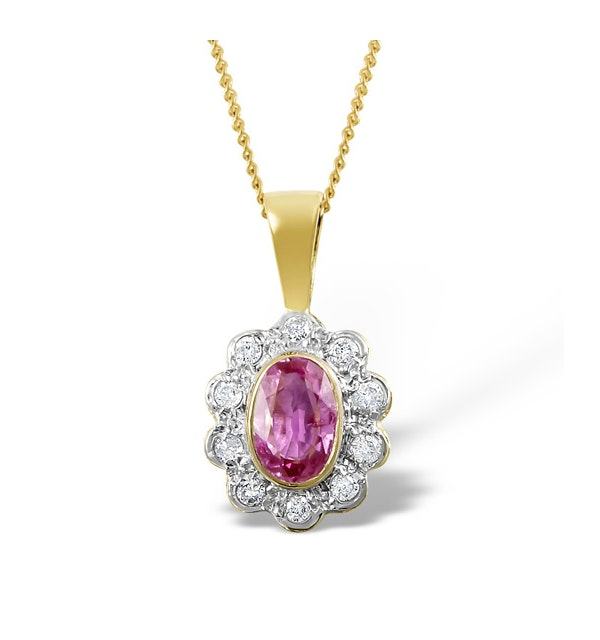 Pink Sapphire 6 X 4mm and 18K Yellow Gold Diamond Pendant Necklace - image 1
