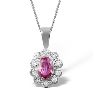 Pink Sapphire 6 X 4mm and 18K White Gold Diamond Pendant Necklace