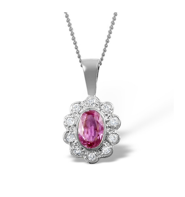 Pink Sapphire 6 X 4mm and 18K White Gold Diamond Pendant Necklace - image 1