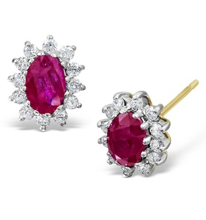 Ruby 6 x 4mm And Diamond 9K Yellow Gold Earrings  B3668