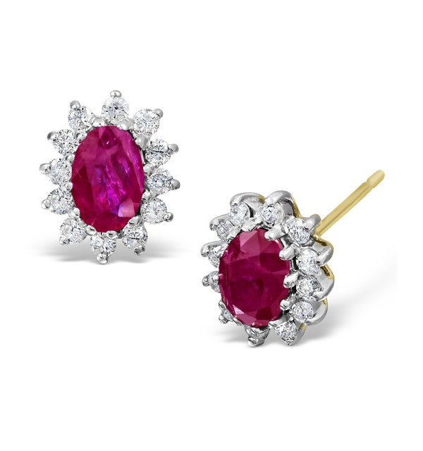 Ruby 6 x 4mm And Diamond 9K Yellow Gold Earrings  B3668 - image 1