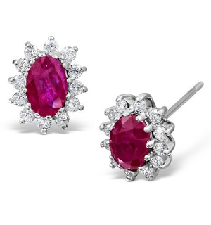 Ruby 6 x 4mm And Diamond 18K White Gold Earrings