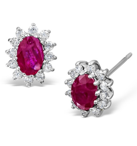Ruby 6 x 4mm And Diamond 18K White Gold Earrings - image 1