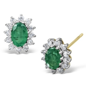 Emerald 6 x 4mm And Diamond 18K Yellow Gold Earrings