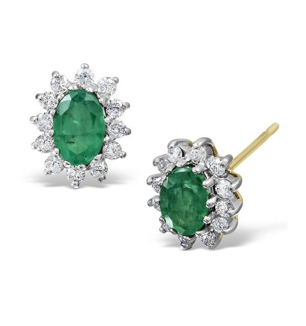 Emerald 6 x 4mm And Diamond 18K Yellow Gold Earrings - image 1