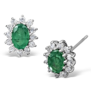 Emerald 6 x 4mm And Diamond 18K White Gold Earrings