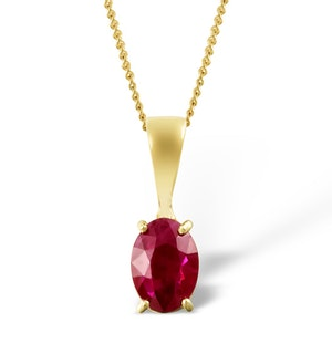 Ruby 7 x 5mm 9K Yellow Gold Pendant