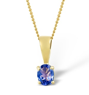 Tanzanite 5 x 4mm 9K Yellow Gold Pendant Necklace