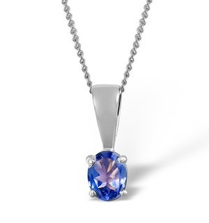 Tanzanite 5 x 4mm 18K White Gold Pendant Necklace