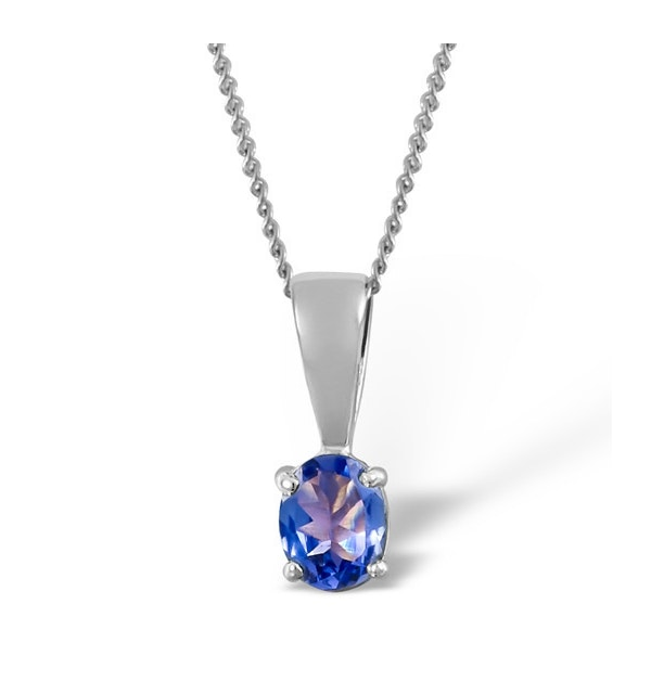 Tanzanite 5 x 4mm 18K White Gold Pendant Necklace - image 1