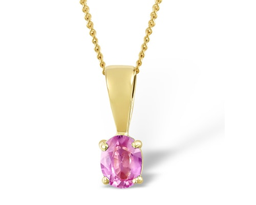 Pink Sapphire Yellow Gold Pendants And Necklaces