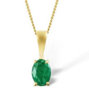 Emerald 7 x 5mm 18K Yellow Gold Pendant Necklace
