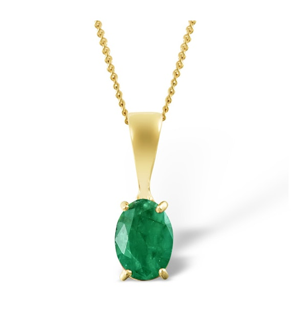 Emerald 7 x 5mm 18K Yellow Gold Pendant - image 1