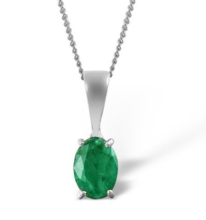 Emerald 7 x 5mm 18K White Gold Pendant Necklace
