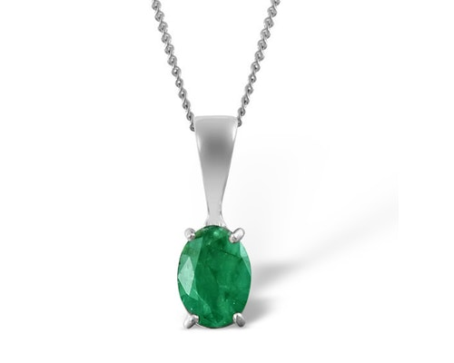 Emerald Solitaire Pendants And Necklaces