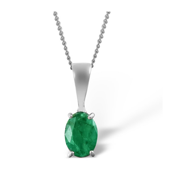 Emerald 7 x 5mm 18K White Gold Pendant Necklace - image 1