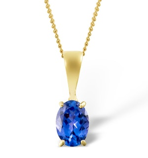 Tanzanite 7 x 5mm 18K Yellow Gold Pendant