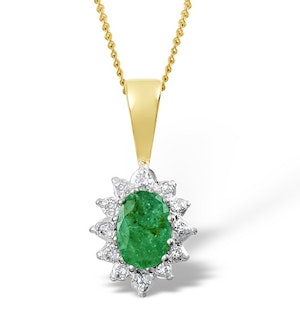 Emerald 0.43CT And Diamond 9K Yellow Gold Pendant
