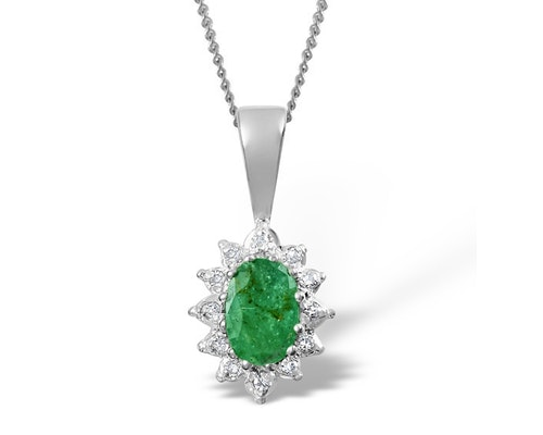 Emerald White Gold Pendants And Necklaces