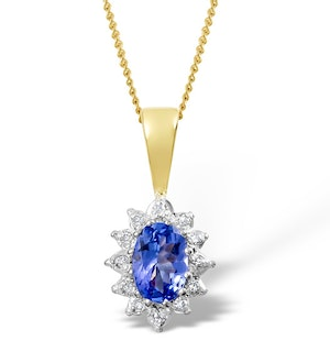 Tanzanite 6 x 4mm And Diamond 18K Yellow Gold Pendant