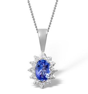 Tanzanite 6 x 4mm And Diamond 9K White Gold Pendant