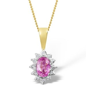 Pink Sapphire 6 X 4mm and Diamond 18K Yellow Gold Pendant Fer25-Ru