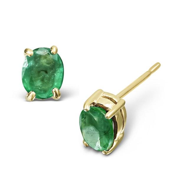 Emerald 0.30CT 9K Yellow Gold Earrings - image 1
