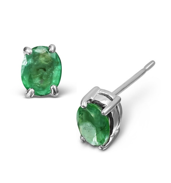 Emerald 5 x 4mm 18K White Gold Earrings - image 1