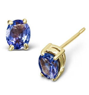 Tanzanite 5 x 4mm 9K Yellow Gold Earrings