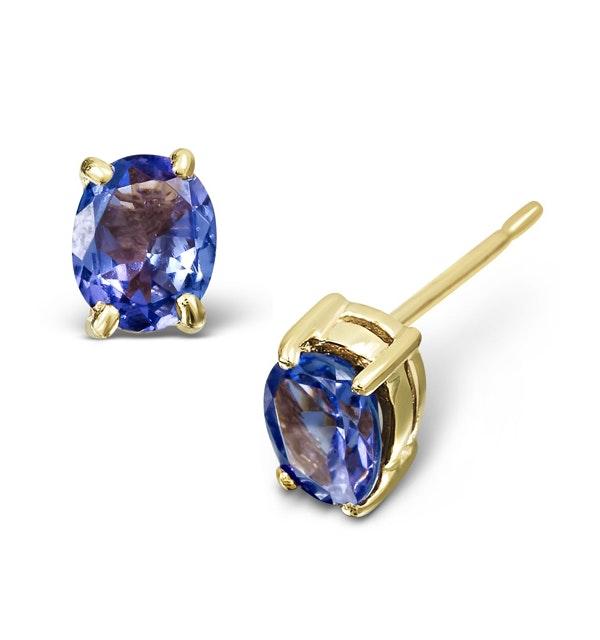 Tanzanite 5 x 4mm 18K Gold Earrings - image 1