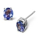 Tanzanite 5 x 4mm (0.70ct) 9K White Gold Earrings - image 1