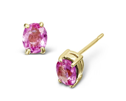 Yellow Gold Pink Sapphire Earrings