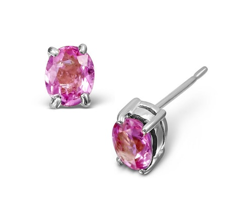Oval Cut Pink Sapphire Earrings
