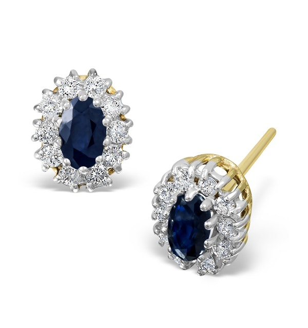 Sapphire 5mm x 3mm And Diamond 18K Yellow Gold Earrings - image 1