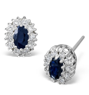 Sapphire 5mm x 3mm And Diamond 18K White Gold Earrings