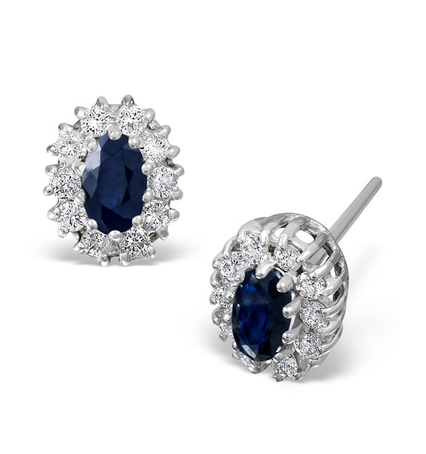 Sapphire 5mm x 3mm And Diamond 18K White Gold Earrings - image 1