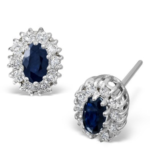 Sapphire 5mm x 3mm And Diamond 9K White Gold Earrings
