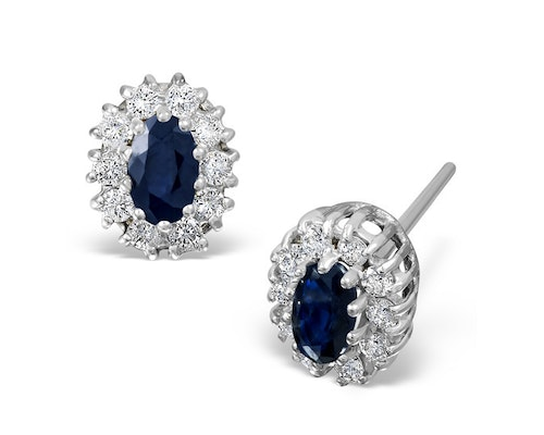 White Gold Sapphire Cluster Earrings