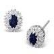 Sapphire 5mm x 3mm And Diamond 9K White Gold Earrings - image 1